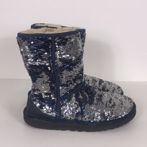 UGG Blue and Silver Sequins Classic Winter Boots